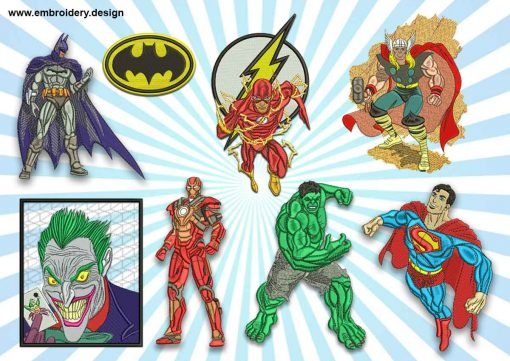 The pack of embroidery designs Superheroes from comics