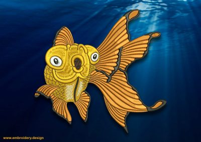 This Surprised goldfish design was digitized and embroidered by www.embroidery.design.