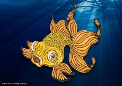 This Swimming goldfish design was digitized and embroidered by www.embroidery.design.
