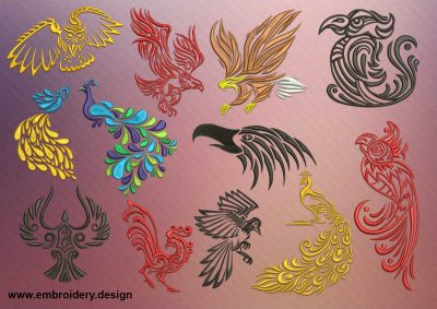 The pack of embroidery designs Variations of tattoo birds