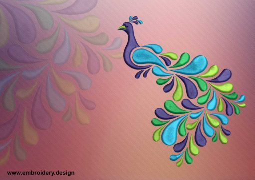 The embroidery design Tattoo colored peacock