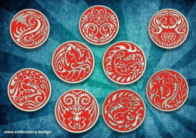 The pack of embroidery designs Tattoo dragon patches