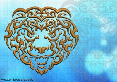 This Grinning lion tattoo design was digitized and embroidered by www.embroidery.design.