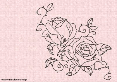 The embroidery design Tattoo of roses will look perfect on any textile due to its simplicity in embroidery.