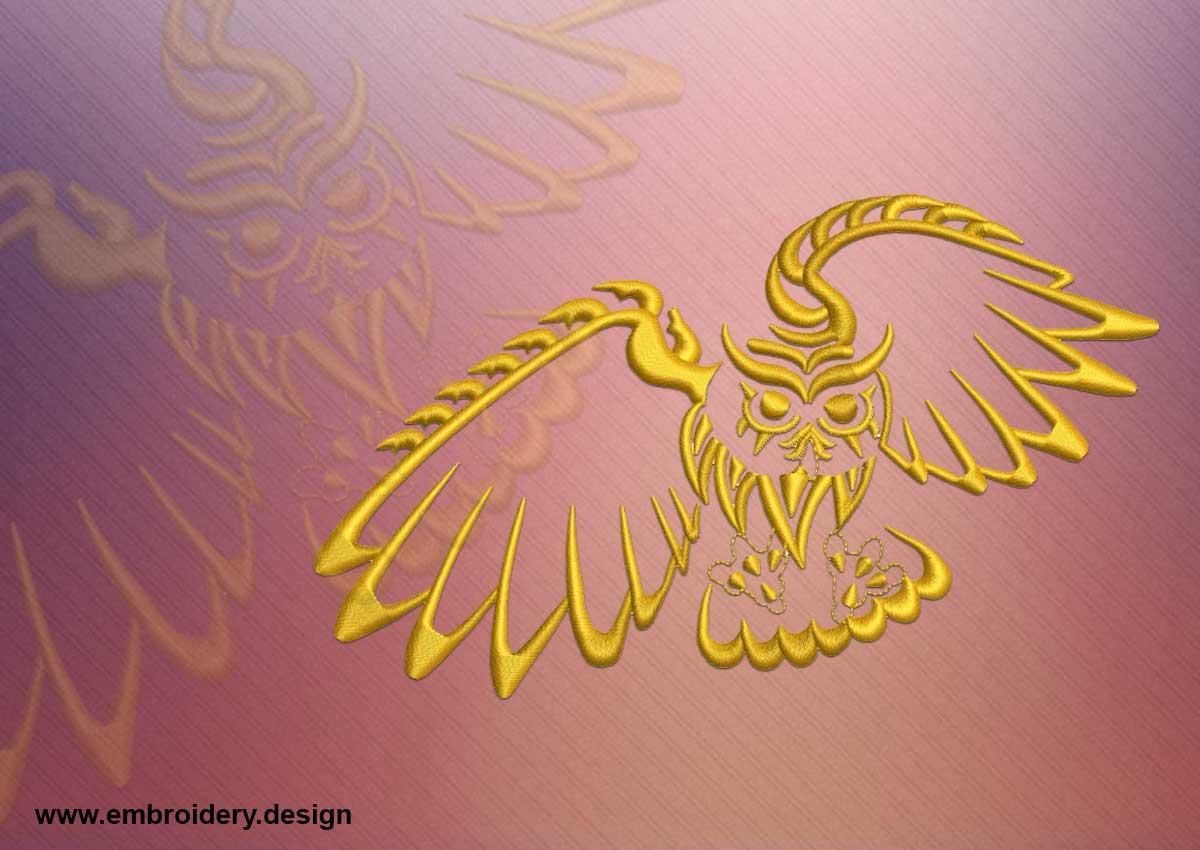 tattoo owl embroidery design. Black Bedroom Furniture Sets. Home Design Ideas