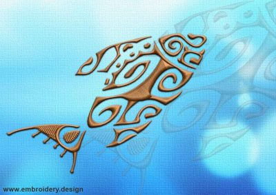 This Sea fish tattoo design was digitized and embroidered by www.embroidery.design.