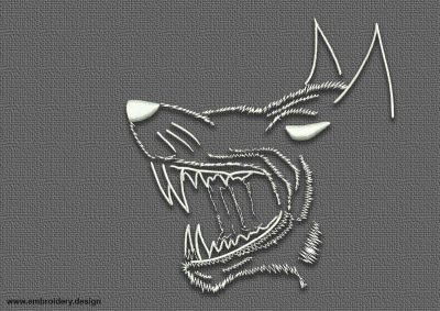 The embroidery design Tattoo toothy wolf is digital instantly downloadable file.