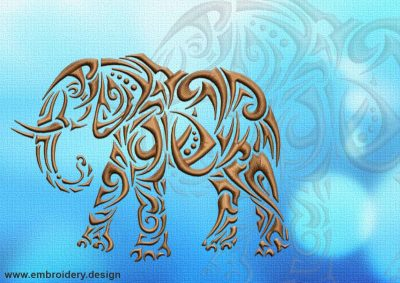 This Walking elephant tattoo design was digitized and embroidered by www.embroidery.design.