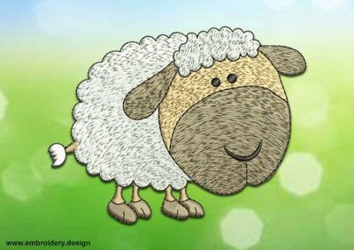 This Thick sheep design was digitized and embroidered by www.embroidery.design.