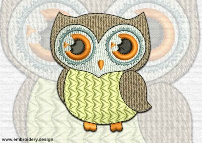 This Thinking owl design was digitized and embroidered by www.embroidery.design.