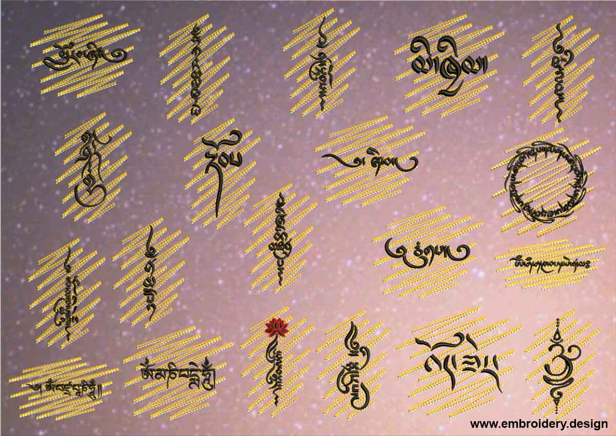 Tibetan Mantras on gold background embroidery designs pack