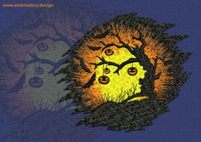 This Tree in the Moonlight design was digitized and embroidered by www.embroidery.design.