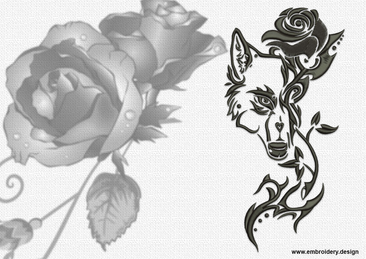 Design Embroidery Tribal Wolf With Rose By Www Embroidery Design