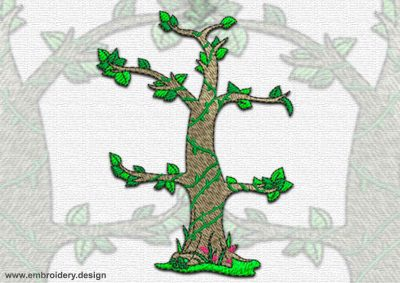 This Tropical tree design was digitized and embroidered by www.embroidery.design.