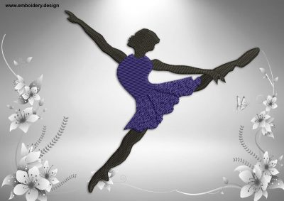 This Twine in ballet design was digitized and embroidered by www.embroidery.design.