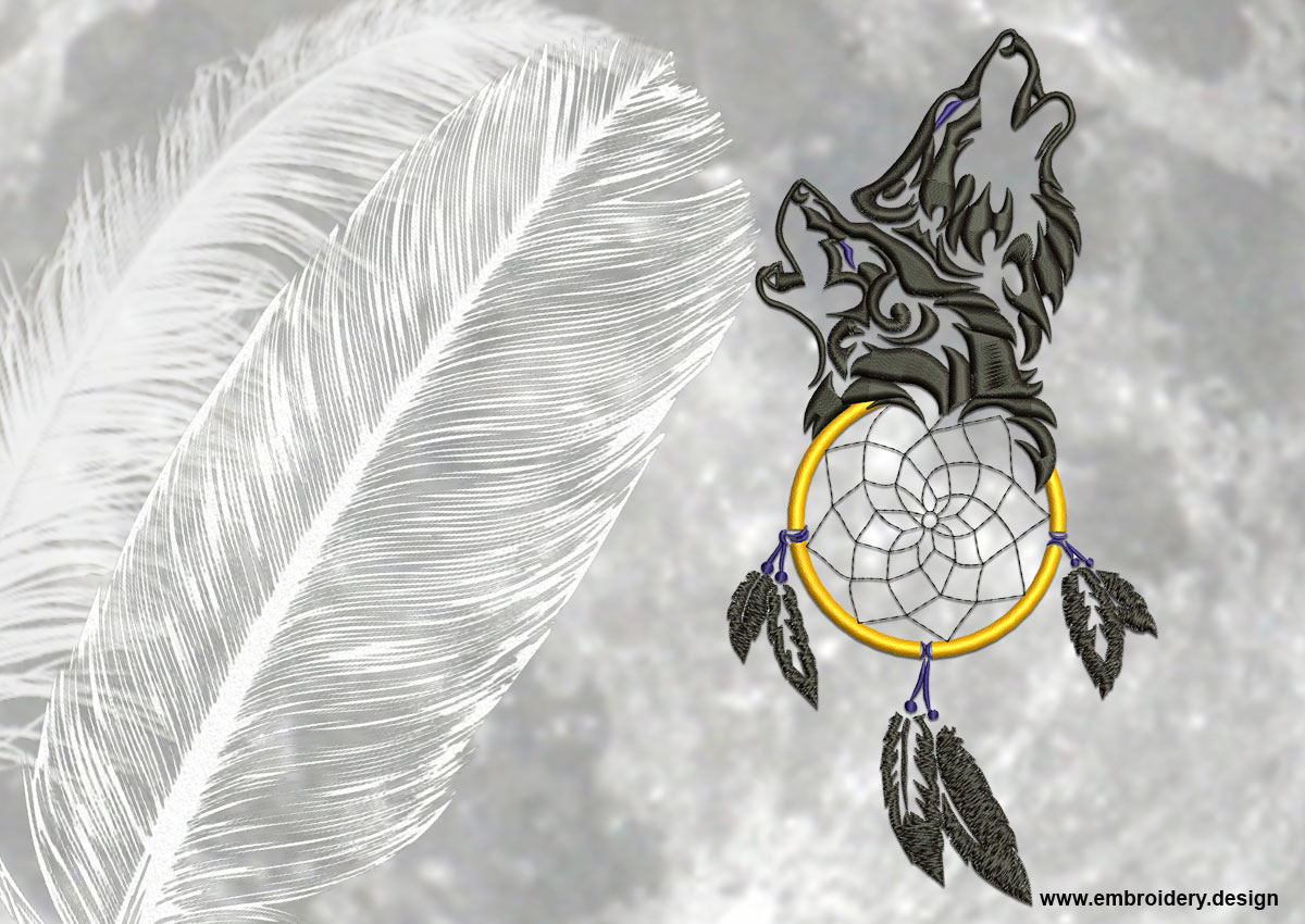 dreamcatcher wolves feathers white - photo #26