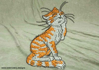This Upset cat design was digitized and embroidered by www.embroidery.design.