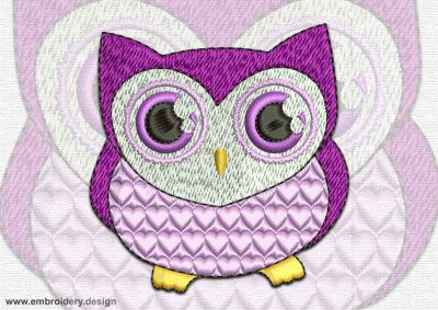 This Upset owlet design was digitized and embroidered by www.embroidery.design.