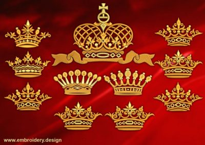 This Varied crowns' pack design was digitized and embroidered by www.embroidery.design.