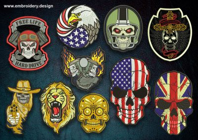 This Various biker patches embroidery designs pack design was digitized and embroidered by www.embroidery.design.