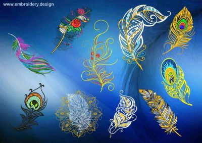 This Various feathers embroidery designs pack design was digitized and embroidered by www.embroidery.design.