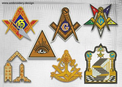 The pack of qualitative embroidery design Various masonic logos