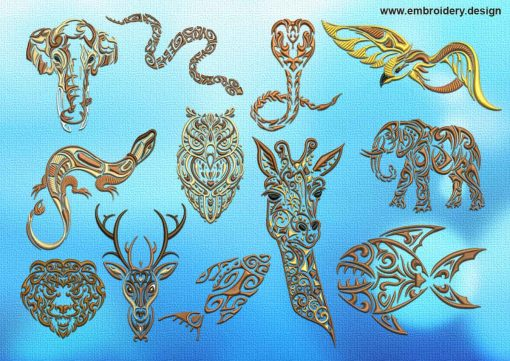 This Various tattoo animals embroidery designs pack design was digitized and embroidered by www.embroidery.design.