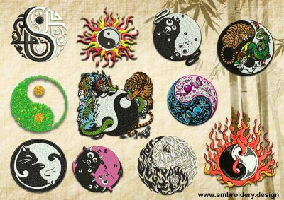 This Various Yin Yang embroidery designs pack design was digitized and embroidered by www.embroidery.design.