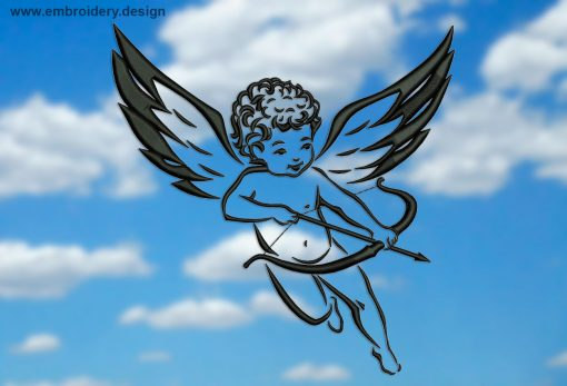 This Vintage Cupid design was digitized and embroidered by www.embroidery.design.