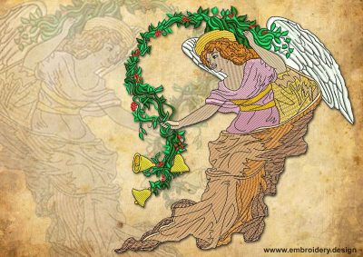 This Vintage light Angel with bells design was digitized and embroidered by www.embroidery.design.