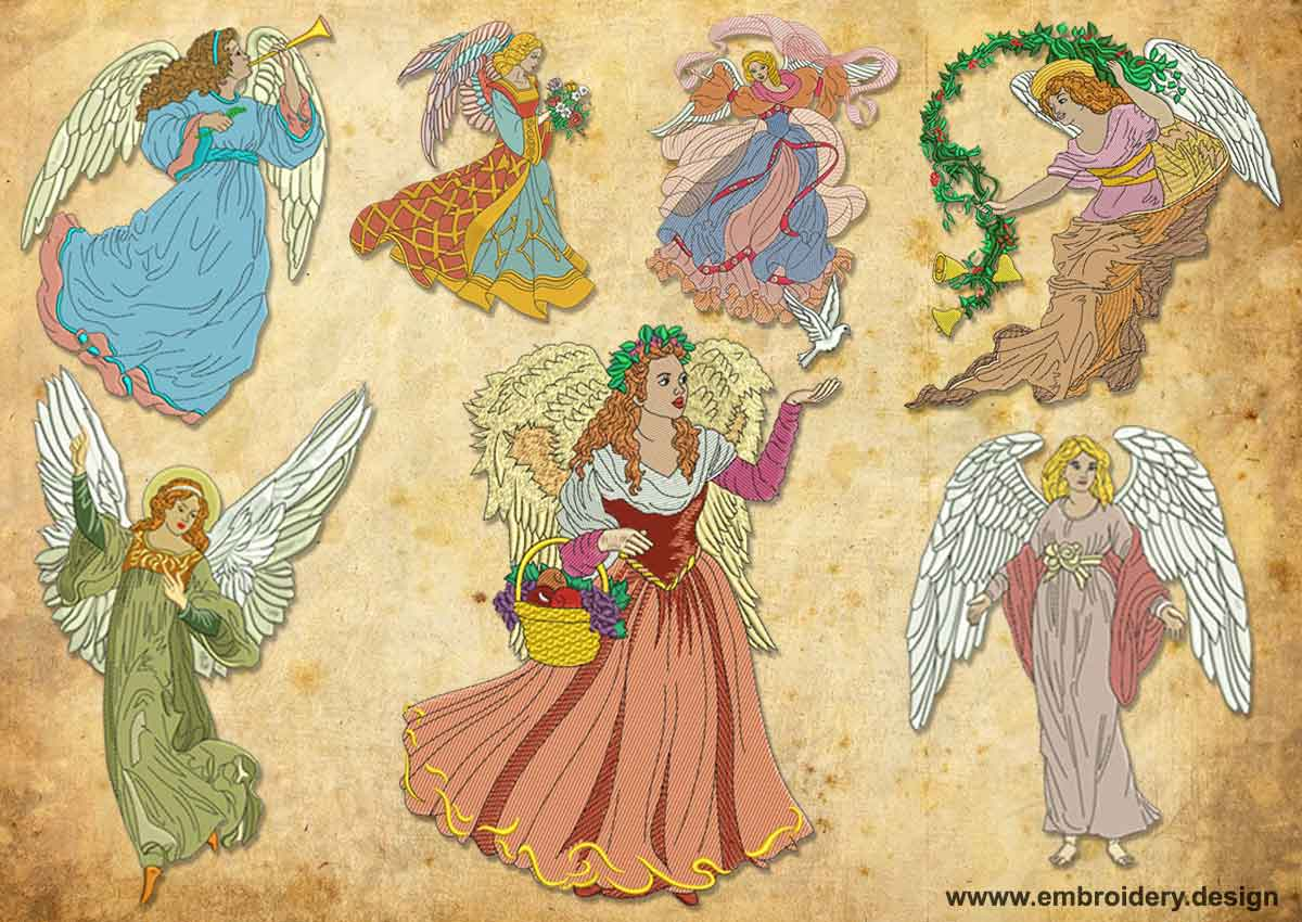 Design embroidery vintage light angels pack by