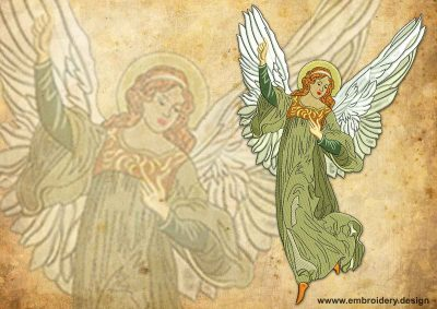 This Vintage light Christmas Angel design was digitized and embroidered by www.embroidery.design.