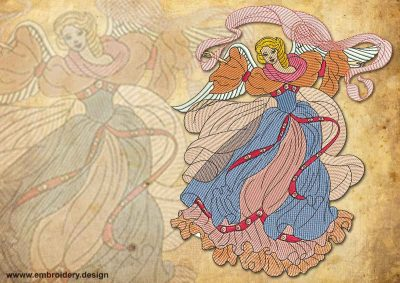 This Vintage light Fairy Angel design was digitized and embroidered by www.embroidery.design.