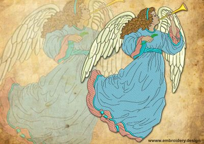 This Vintage light trumpeting Angel design was digitized and embroidered by www.embroidery.design.