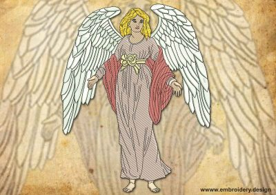 This Vintage sincere Angel design was digitized and embroidered by www.embroidery.design.