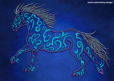 This Walking horse design was digitized and embroidered by www.embroidery.design.