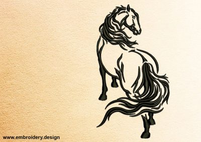 The embroidery design Walking Horse is easy to embroider onto any kind of fabric.