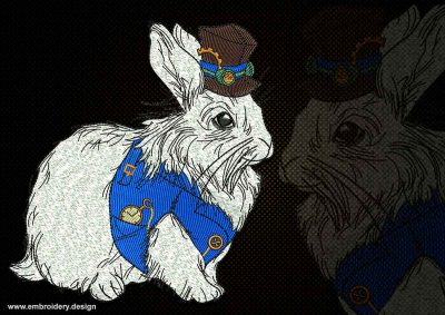 This White rabbit from Wonderland design was digitized and embroidered by www.embroidery.design.