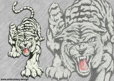 This White saber-toothed tiger design was digitized and embroidered by www.embroidery.design.