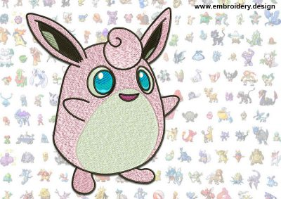 This Wigglytuff Pokemon design was digitized and embroidered by www.embroidery.design.