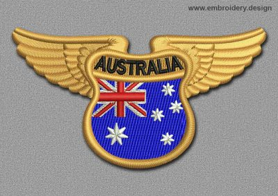 This Flags Patch Winged Flag of Australia design was digitized and embroidered by www.embroidery.design.