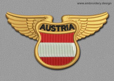 This Flags Patch Winged Flag of Austria design was digitized and embroidered by www.embroidery.design.