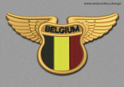 This Flags Patch Winged Flag of Belgium design was digitized and embroidered by www.embroidery.design.
