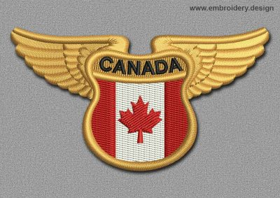 This Flags Patch Winged Flag of Canada design was digitized and embroidered by www.embroidery.design.