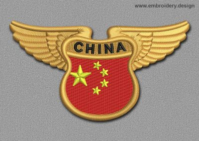 This Flags Patch Winged Flag of China design was digitized and embroidered by www.embroidery.design.