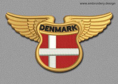 This Flags Patch Winged Flag of Denmark design was digitized and embroidered by www.embroidery.design.