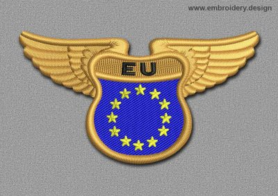 This Flags Patch Winged Flag of EU design was digitized and embroidered by www.embroidery.design.