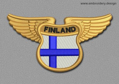 This Flags Patch Winged Flag of Finland design was digitized and embroidered by www.embroidery.design.