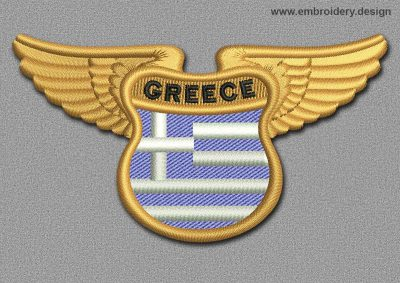 This Flags Patch Winged Flag of Greece design was digitized and embroidered by www.embroidery.design.