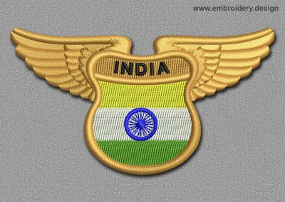 This Flags Patch Winged Flag of India design was digitized and embroidered by www.embroidery.design.